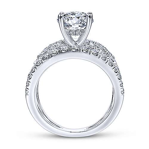 Bellatrix 14k White Gold Round Split Shank Engagement Ring angle 2