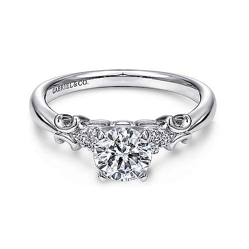 Gabriel - Belle 14k White Gold Round Straight Engagement Ring