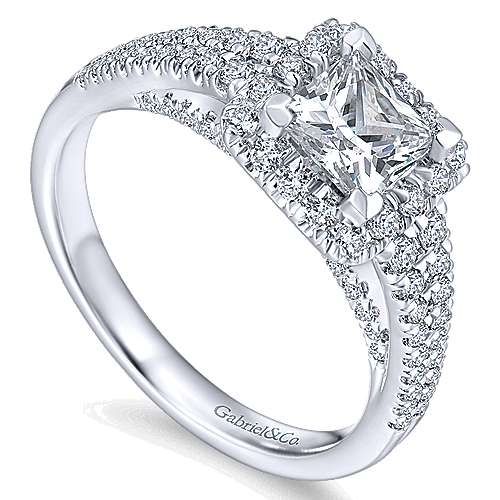 Bergamot 14k White Gold Princess Cut Halo Engagement Ring angle 3