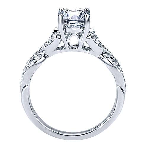 Berlin 18k White Gold Round Twisted Engagement Ring angle 2