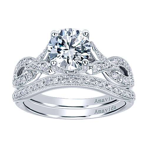 Berlin 18k White Gold Round Twisted Engagement Ring angle 4