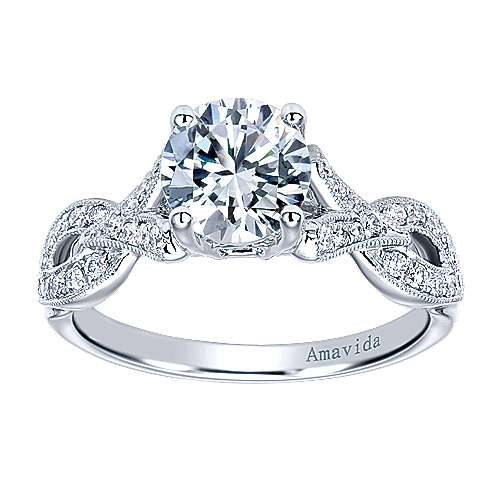 Berlin 18k White Gold Round Twisted Engagement Ring angle 5
