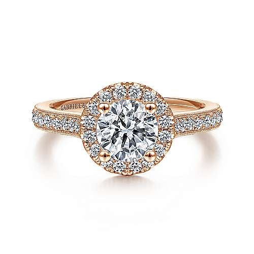 Gabriel - Bernadette 14k Rose Gold Round Halo Engagement Ring