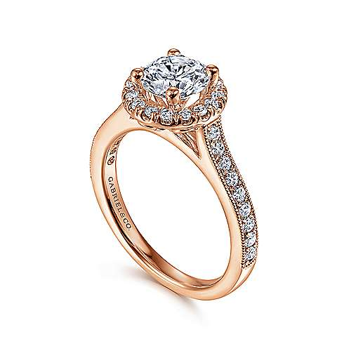 Bernadette 14k Rose Gold Round Halo Engagement Ring angle 3