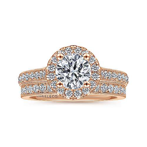 Bernadette 14k Rose Gold Round Halo Engagement Ring angle 4