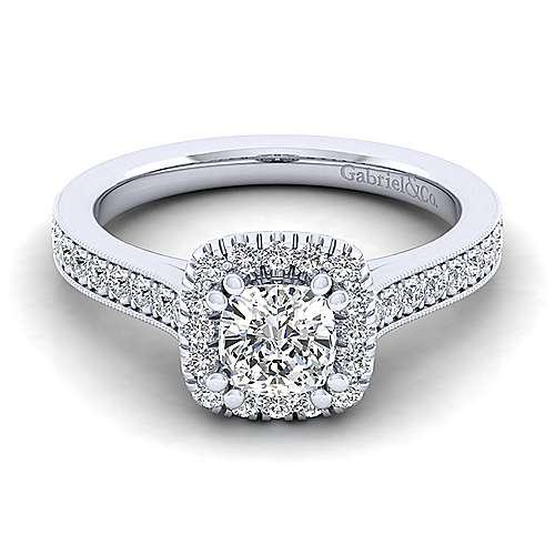 Gabriel - Bernadette 14k White Gold Cushion Cut Halo Engagement Ring