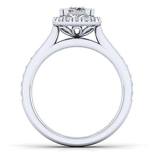 Bernadette 14k White Gold Cushion Cut Halo Engagement Ring