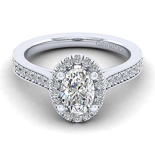 Gabriel - Bernadette 14k White Gold Oval Halo Engagement Ring