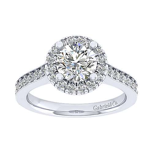 Bernadette 14k White Gold Round Halo Engagement Ring angle 5