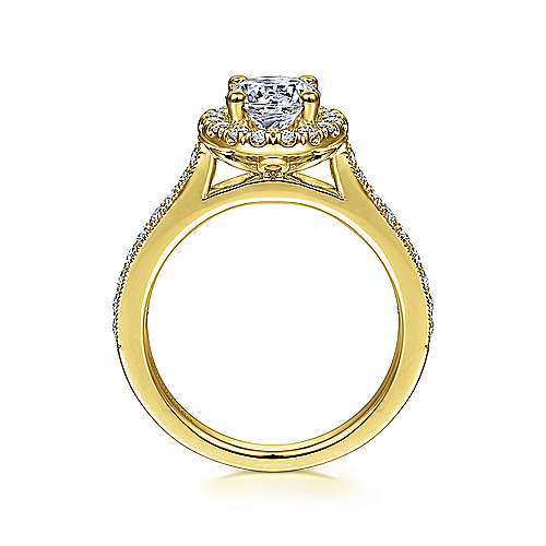 Bernadette 14k Yellow Gold Round Halo Engagement Ring angle 2