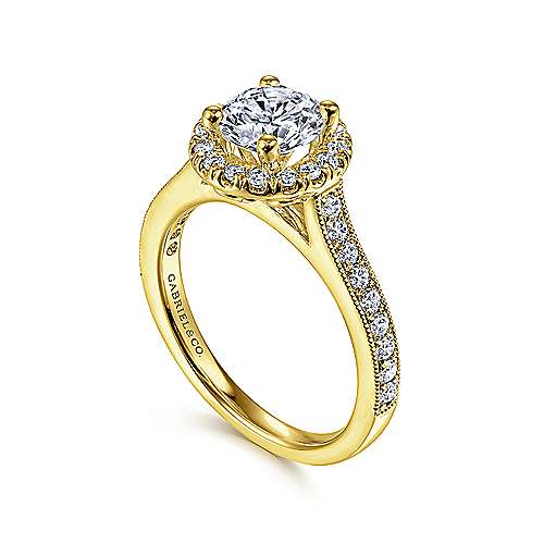 Bernadette 14k Yellow Gold Round Halo Engagement Ring angle 3