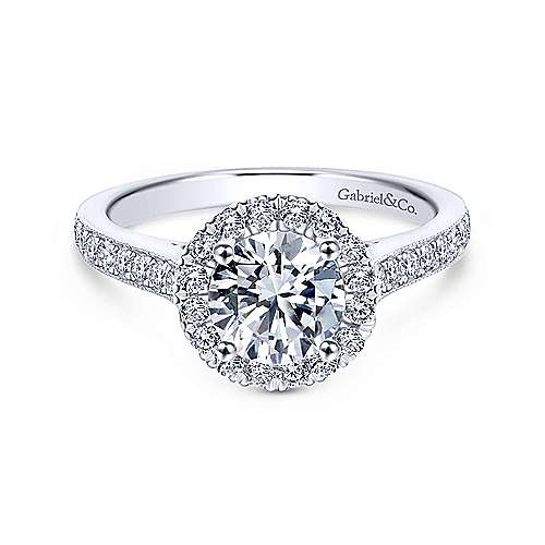 Gabriel - Bernadette 18k White Gold Round Halo Engagement Ring