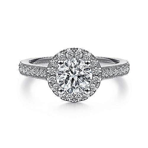 Gabriel - Bernadette Platinum Round Halo Engagement Ring