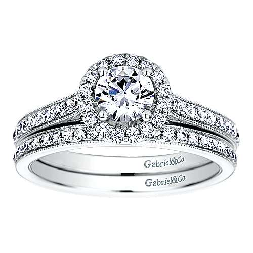 Bernadette Platinum Round Halo Engagement Ring angle 4