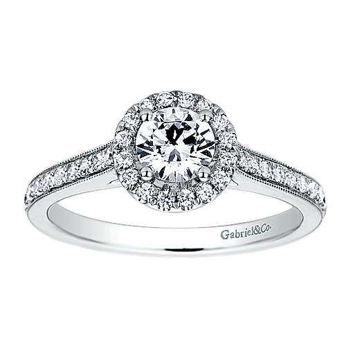 Bernadette Platinum Round Halo Engagement Ring angle 5