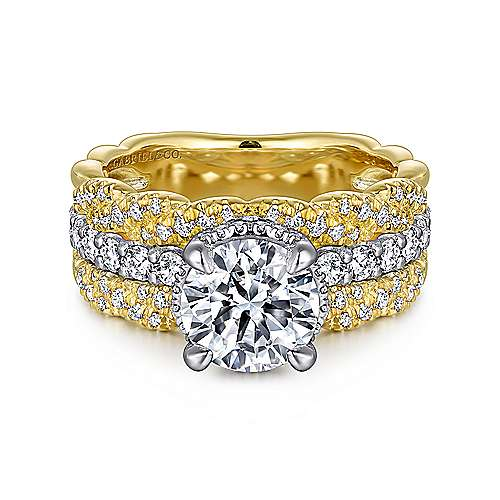 Gabriel - Berry 18k Yellow And White Gold Round Twisted Engagement Ring