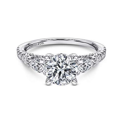 Beso 18k White Gold Round 3 Stones Engagement Ring angle 1