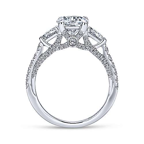 Beso 18k White Gold Round 3 Stones Engagement Ring angle 2
