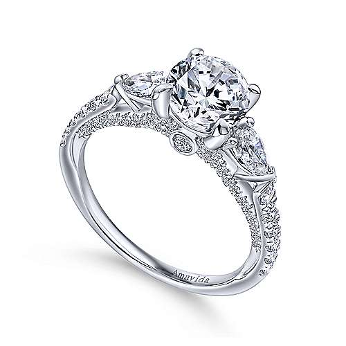 Beso 18k White Gold Round 3 Stones Engagement Ring angle 3