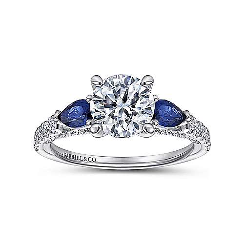 Beso 18k White Gold Round 3 Stones Engagement Ring angle 5