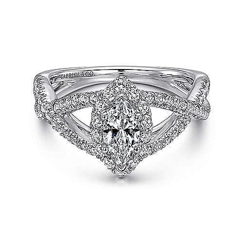 Gabriel - Beta 14k White Gold Marquise  Halo Engagement Ring