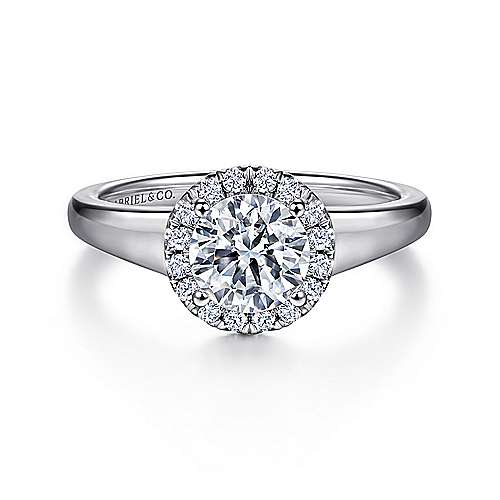 Gabriel - Betonica 18k White Gold Round Halo Engagement Ring