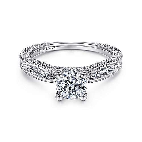 Gabriel - Betsy 14k White Gold Round Straight Engagement Ring