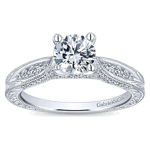 Betsy 14k White Gold Round Straight Engagement Ring angle 5