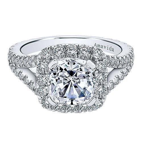 Gabriel - Bette 18k White Gold Cushion Cut Halo Engagement Ring