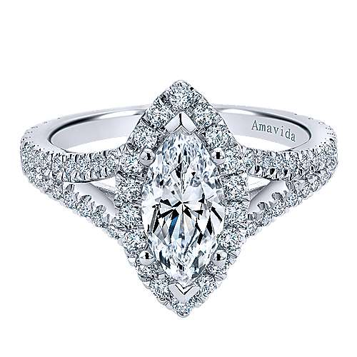 Gabriel - Bette 18k White Gold Marquise  Halo Engagement Ring