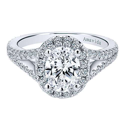 Gabriel - Bette 18k White Gold Oval Halo Engagement Ring