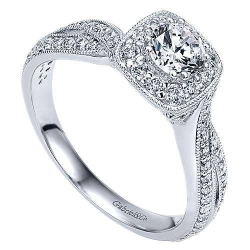Bexley 14k White Gold Round Halo Engagement Ring angle 3