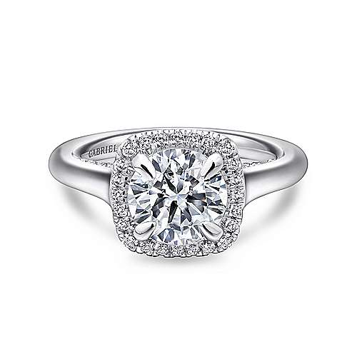 Gabriel - Bibi 18k White Gold Round Halo Engagement Ring