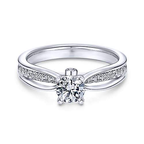 Birdie 14k White Gold Round Split Shank Engagement Ring angle 1