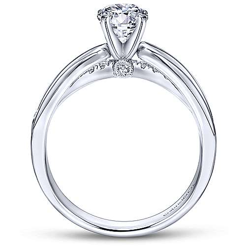 Birdie 14k White Gold Round Split Shank Engagement Ring angle 2