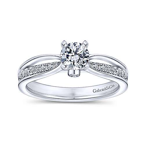 Birdie 14k White Gold Round Split Shank Engagement Ring angle 5