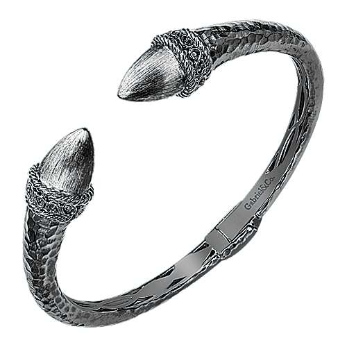 Black Plated 925 Silver Open Hinged Bangle
