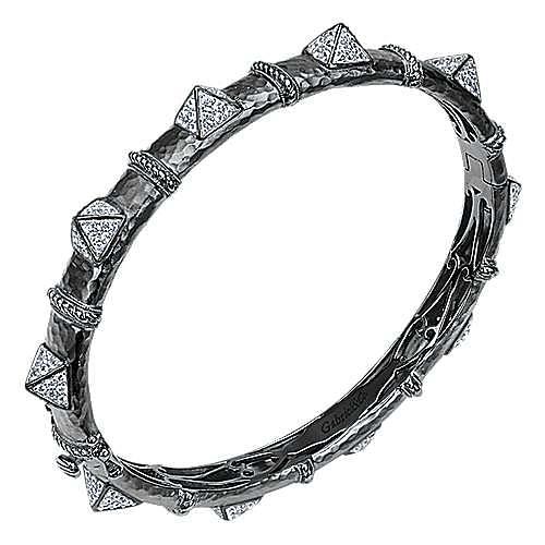 Black Plated 925 Silver White Sapphire Pavé Pyramid Station Bangle