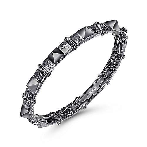 Black Plated 925 Sterling Silver Pyramid Station Bangle