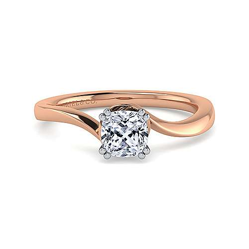 Blair 14k White And Rose Gold Cushion Cut Solitaire Engagement Ring
