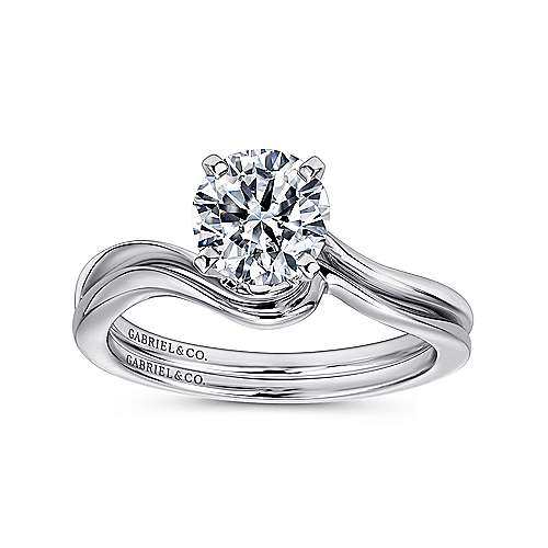 Blair 14k White Gold Round Solitaire Engagement Ring angle 4