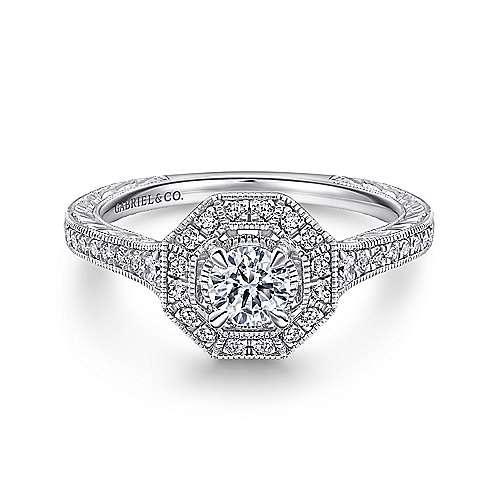 Gabriel - Blanca 14k White Gold Round Halo Engagement Ring