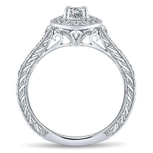 Blanca 14k White Gold Round Halo Engagement Ring angle 2