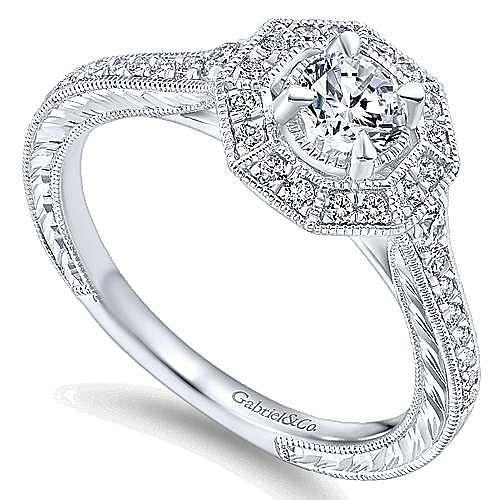 Blanca 14k White Gold Round Halo Engagement Ring angle 3