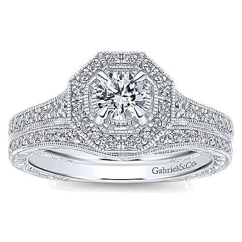 Blanca 14k White Gold Round Halo Engagement Ring angle 4