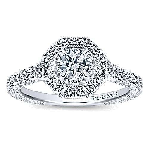 Blanca 14k White Gold Round Halo Engagement Ring angle 5