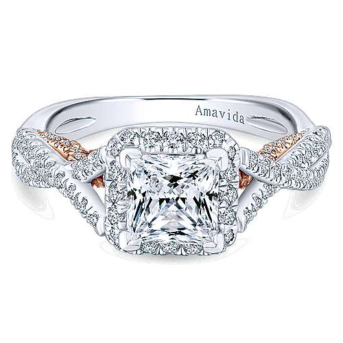 Blanche 18k White And Rose Gold Princess Cut Halo Engagement Ring angle 1