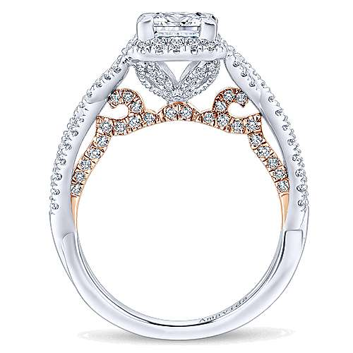 Blanche 18k White And Rose Gold Princess Cut Halo Engagement Ring angle 2