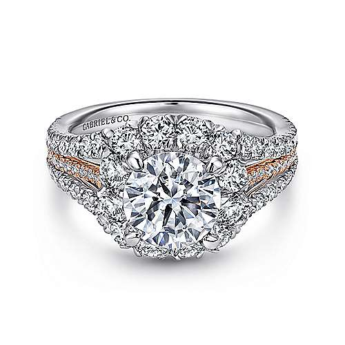 Gabriel - Bleecker 18k White And Rose Gold Round Halo Engagement Ring
