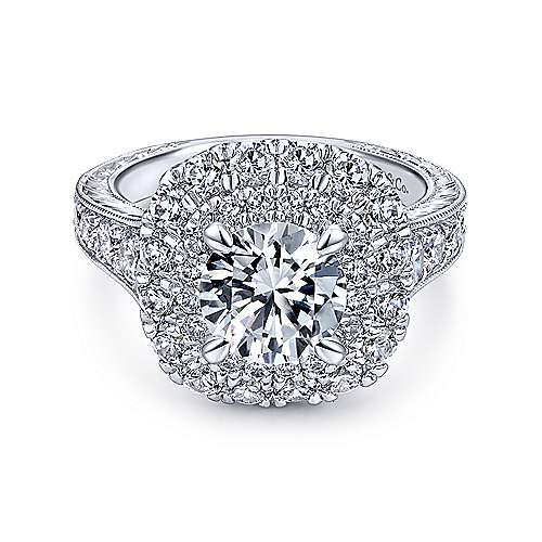 Gabriel - Bliss 18k White Gold Round Double Halo Engagement Ring